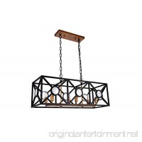 "Dst Retro Rectangular Pendant Island Light  Antique Black Paint Chandelier Ceiling Light for Kitchen  Living room  Island and so on  Size: L: 78.6cm/30.94"" W: 27cm/10.63"" H: 30.2cm - B076J93PCY"