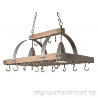 Elegant Designs PR1001-WOD 2 Light Kitchen Wood Pot Rack with Downlights Wood with Brushed Nickel Accents - B01N1PMFQG