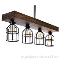 Farmhouse Lighting Triple Wood Beam Rustic Decor Chandelier Light - Great in Kitchen  Bar  Industrial  Island  Billiard  Foyer and Edison Bulb. Wooden Vintage Reclaimed Four Light With Cages (Smooth) - B0797DCL9F