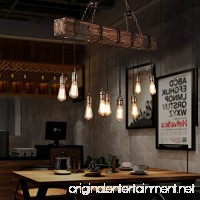 Jiuzhuo Farmhouse Style Dark Distressed Wood Beam Large Linear Island Pendant Light 10-Light Chandelier Lighting Hanging Ceiling Fixture - B076VK271V
