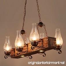 Jiuzhuo Industrial Loft Dark Distressed Wood Beam Large Pendant Light 6-Light Chandelier Lighting Hanging Ceiling Fixture - B078SMLYTV