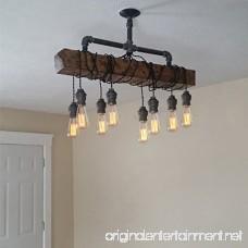 Jiuzhuo Industrial Rustic Wood Beam Linear Island Pendant Light 8-Light Chandelier Lighting Hanging Ceiling Fixture - B07BGV92N5