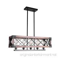 Lingkai Wood Chandelier Rectangular Pendant Ceiling Light Chandelier Kitchen Island Lighting 5-Light Farmhouse Hanging Light Fixture - B07DWXZ5WB