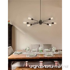 Modern Sputnik Chandelier in Matte Black 6 Light with Adjustable Arm Island Pendant Hanging Light for Dining Room Kitchen Living Room Foyer - B077P7ZFBN