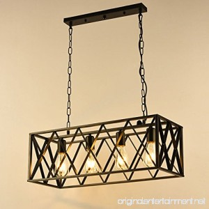 NIUYAO Vintage Chandeliers 4-Light Kitchen Island Chandelier Lighting Rectangle Rustic Pendant Lighting with Wire Metal Cage - B0788L4286