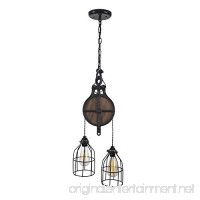 West Ninth Vintage Wood and Steel Barn Pulley Light | Black - B01M23RQ37