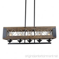 Wood Rectangular Pendant Lighting Chandelier Kitchen Island Lighting Hanging Ceiling Light Fixture Vintage Rustic Oil Black (32 Inches ( 5 Lights )) - B076HCW1BV