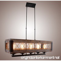 Wood Rectangular Pendant Lighting Chandelier Kitchen Island Lighting Hanging Ceiling Light Fixture Vintage Rustic Oil Black (32 Inches ( 5 Lights )) - B076HCW1BV