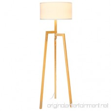 Brightech New Mia LED Tripod Floor Lamp– Modern Design Wood Mid Century Style Lighting for Contemporary Living or Family Rooms- Ambient Light Tall Standing Survey Lamp for Bedroom Office- White Shade - B07BDPJXGH