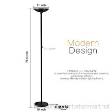 Floor Lamps SUNLLIPE LED Floor Lamp with Remote Control 24W Dimmable Modern Tall Standing Pole Uplight Torchiere Light for Living Room Bedrooms Office Jet Black - B078GHMP39