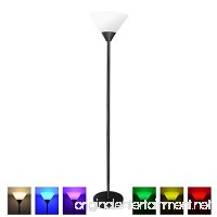 MLGB Alexa WiFi Smart Floor lamp Dimmable Multicolored Color Changing LED Light 68 inches Uplight with White Shade Black Torchiere - B07D997VN2