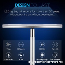 Vacnite LED Torchiere Floor Lamp Smart-Touch-Dimming 71-Inch 36-Watt Super Bright Warm White for Bedroom Living Room Office - Simple Streamlining Silver - B071K8NKJF