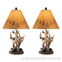 Ashley Furniture Signature Design - Derek Antler Table Lamps - Mountain Style Shades - Set of 2 - Natural Finish - B0019AFE7E