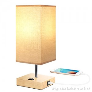 Bedside Table Lamps with USB Port for Bedroom Living Room A19 LED Bedside Lamp Wood Desk Lamp USB Charging Port Station E26 USB Nightstand Lamp Beige Linen Fabric Lampshade (USB Output 5V 2.1A) - B07CXV476S