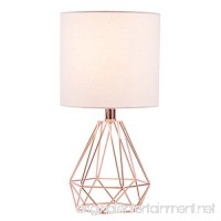 CO-Z Table Lamp with White Fabric Shade  Desk Lamp with Hollowed Out Base 18 inches in Height for Living Room Bedroom Dining Room (Rose Gold Base) - B079L6FVZJ