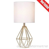 Cotulin Mini Golden Delicate Design Hollowed Out Base Bedroom Living Room Side Table Lamp With Golden Base and White Shade - B07C4D57XH