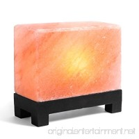 d'aplomb 100% Authentic Natural Himalayan Salt Lamp; Hand-Carved Modern Rectangle in Pink Crystal Rock Salt from the Himalayan Mountains; Footed Wood Base  UL-Listed Dimmer Cord; 11.5 lbs - B07BC6KZ2V