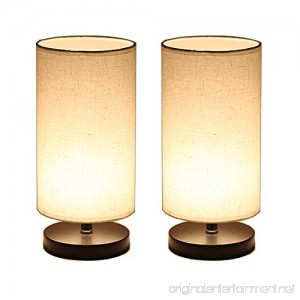 DEEPLITE Wood Table Lamp with Fabric Shade LED Bulb Bedside Desk Lamp set of 2 (Round) - B074W4MVN2