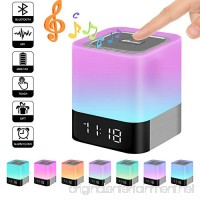 Elecstars Portable Night Light -Touch Sensor Bedside Lamp with Bluetooth Speaker Dimmable Table Lamp with Alarm Clock 4000mAh Battery Support MP3  USB  AUX Best Gift for Kids  Party  Bedroom  Outdoor - B077694C8L