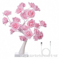 Finether Table Lamp Adjustable Rose Flower Desk Lamp|1.64ft Pink Tree Light for Wedding Living Room Bedroom Party Home Decor with 24 Warm White LED Lights|Two Mode: USB/Battery Powered - B01IOJGTD0