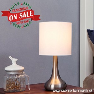 GLANZHAUS Modern Style Brushed Nickel Finish Base Living Room Bedroom Beside Table Lamp 13.4H White Fabric Drumshade Small Table Lamps - B076CGHJ51