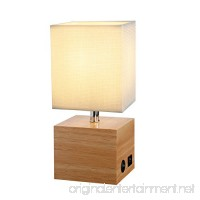 HOMPEN Grace Bedside Lamp with USB Charging Port  Wooden Table Lamp for Living Room  Bedroom  Office  Guestroom - B07CQMC7Y3