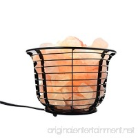 "Mineralamp IB-101 Natural Himalayan Round Style Basket Salt Lamp with Carved Salt Chunks  Bulb & Dimmer Control  6"" x 6"" x 7""  Peach/Pink - B01N3JPK7A"
