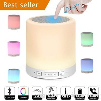 Night Light Bluetooth Speakers Beside Lamp Lonchan Hi-Fi Portable Wireless Bluetooth Stereo Speaker with Touch Control 7 Color Themes Warm Night Light with TF Card  AUX Supported  White - B075D6KL3W