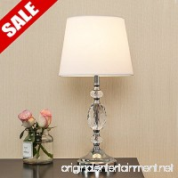 POPILION Decorative Chrome Living Room Bedside Crystal Table Lamp Table Lamps With White Fabric Shade for Bedroom Living Room Coffee Desk Lamp - B078YP98SK