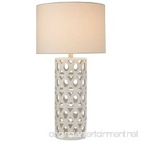 "Stone & Beam Ceramic Geometric Table Lamp  25"" H  with Bulb  White Shade - B07374K53C"