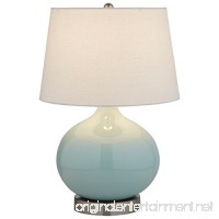 "Stone & Beam Cyan Ceramic Lamp  20"" H  with Bulb  White Shade - B073751DML"