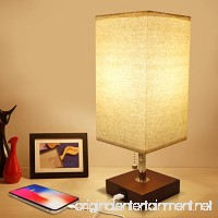 USB Bedside Table Lamp  Seealle Solid Wood Nightstand Lamp  Minimalist Bedside Desk Lamp With USB Charging Port Unique Lampshde Convenient Pull Chain  Perfect for Living Room  Bedroom(Havana Brown) - B07D35KDBW