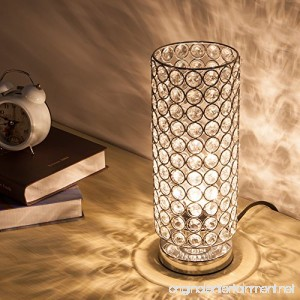 ZEEFO Crystal Table Lamp Nightstand Decorative Room Desk Lamp Night Light Lamp Table Lamps for Bedroom Living Room Kitchen Dining Room (Silver) - B07253D9PX