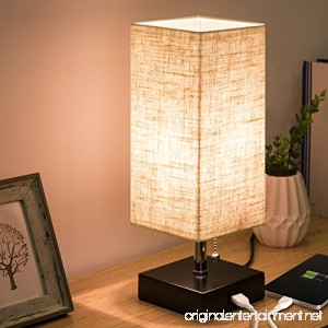 ZEEFO USB Table Lamp Modern Design Bedside Table Lamps with USB Charging Port Wooden Black Base and Fabric Shade Nightstand Table Lamps is Perfect for Bedroom Living Room Study Room Guest Room - B07F6652G8