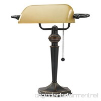 "Alera ALELMP537BZ Traditional Banker's Lamp  16"" High  Amber Shade with Antique Bronze Base - B01LQUS53Q"