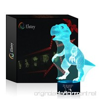 Dinosaur 3D Night Light Touch Table Desk Lamp Elsley 7 Colors 3D Optical Illusion Lights with Acrylic Flat & ABS Base & USB Cabler for Christmas Gift - B01K1RNHM4