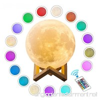 """Gahaya 16 Colors 【Seamless】 Moon Lamp  【Remote】 & Touch Control  Unibody Forming 3D Printed  PLA material  USB Recharge  Diameter 7.1""""/18cm - B07CYY54PL"""