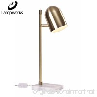 Lampworks Table Lamp Diamond Shape Bedside Lamp Marble Base Desk Lamp Rose Copper Lampshade Modern Design Light for Bedrooms Living Room(Bulb Not Included) (Gold) - B078L1VV7P