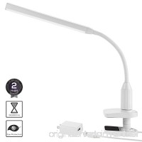 Torchstar 24 LEDs Dimmable Flexible Gooseneck Clamp Desk Lamp Eye-Care Touch Sensitive 5W Light  Memory Function  USB Charger + Power Adapter  50000 hours Lifespan & 2 Years Warranty (White) - B01MDKUUB2