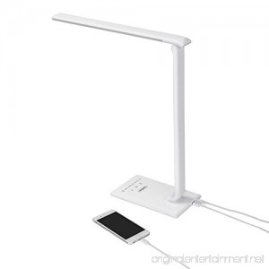 VonHaus White Folding LED Desk Lamp with USB Charger 7 Level Dimmer Touch Control & Timer - College Student Bedroom Office Hobby or Modern Table Lamp - B018WBNWQW