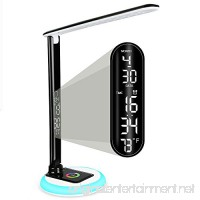 Wanjiaone LED Dimmable Desk Lamp Built-in LCD screen Date&Time&Alarm Clock&Temperature 10W/5V  USB Charging Port Colorful Change Base Eye-caring Foldable Office Lamp for Work/Study/Computer - B079FRYVXG