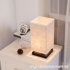 ZEEFO Simple Table Lamp Bedside Desk Lamp With Fabric Shade and Solid Wood for Bedroom Dresser Living Room Baby Room College Dorm Coffee Table Bookcase (square) - B01F4Y2932
