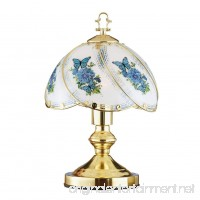 Collections Etc Blue Butterfly Décor Glass Shade 3-Way Touch Lamp - B079SKBDTV