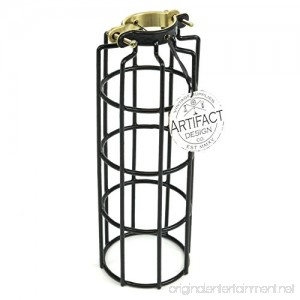 Industrial Design Elongated Metal Wire Cage Lamp Guard by Artifact Design for DIY Wall Lighting in Black - B017BU7IT2