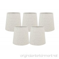 Meriville Set of 5 Natural Linen Clip On Chandelier Lamp Shades  4-inch by 5-inch by 5-inch - B01JYILXD6