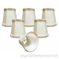 "Royal Designs (6 Pack) 4"" Deep Empire Chandelier Lamp Shade with top and bottom Designer Trim  Eggshell  3 x 4.25 x 4.25 (DCS-113EG-6) - B00JVYH4LO"