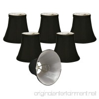 "Royal Designs Chandelier Lamp Shades  3""x 5""x 4.5""  Soft Bell  Black  Clip-On  Set of 6 (CSO-1024-5BLK/WH-6) - B00QUA7AJS"