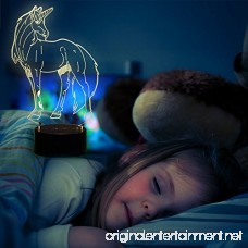 WHATOOK 3D Lamp Unicorn Night Light Touch Table Desk Lamp 7 Color Change Optical Illusion lamp Led USB Charging Battery Operated light as Christmas Gifts Decor Light for Desk Table Home Office - B074Y1RN9V