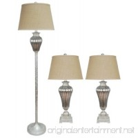 Fangio Lighting 5042 Metal and Glass Lamp 31-Inch Antique Silver 3-Piece - B00D8UGOAE