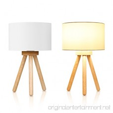 Tomons Wood Tripod Bedside Lamp Simple Design with Soft Light for Bedroom Decorated in Warm and Cozy Ambience Polyester White Fabric Lampshade Packaged with 4W LED Bulb Warm White Light 39cm High - B07BK4JK3N